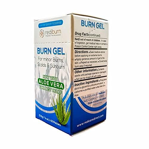 Burn Gel 15/Box Dispenser - Rediburn 3.5g 1/8oz Packets Include Lidocaine, Aloe Vera for Best Relief