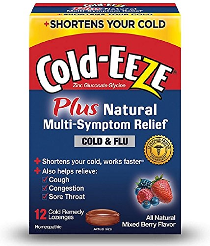 COLD-EEZE Cold Remedy Plus Natural Multi-Symptom Relief Lozenges, Mixed Berry Flavor 12 ea (Pack of 2)