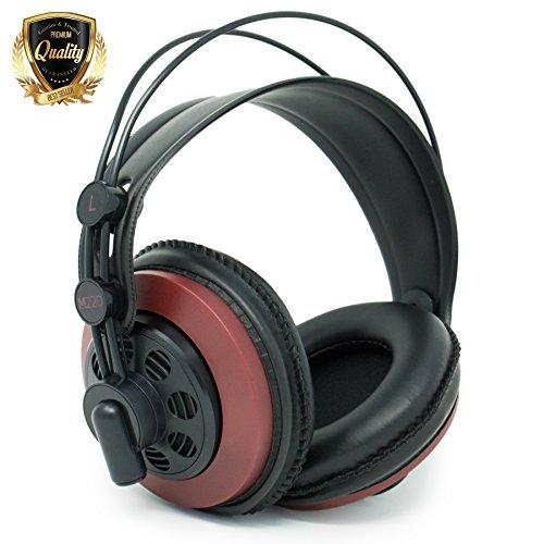 AKG M220 Pro Stylist Professional Large Diaphragm DJ Semi-Open High Definition Over-Ear Studio Headphones - Red