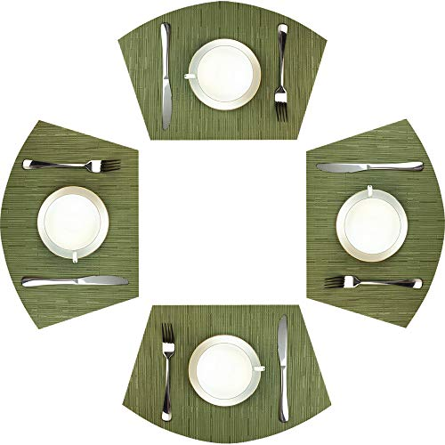 Red-A Woven Vinyl Placemats for Dining Table Durable Heat Resistant Washable Placemats for Round Table,Placemats Set of 4,Green