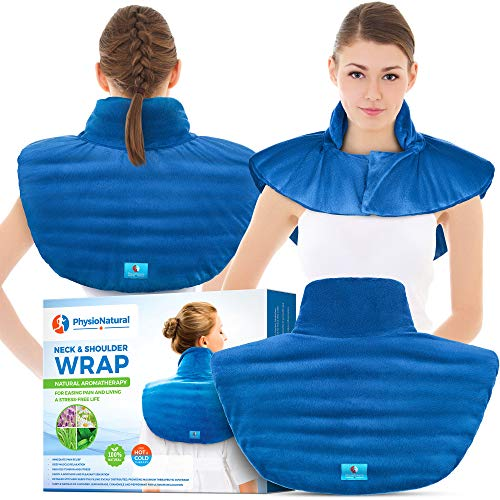 Microwavable Large Neck and Shoulder Wrap – Instant Relief for Muscle Pain, Tension and Stress, Stiffness, Arthritis, Migraines, and Headaches – Natural Therapy with deep Heat and Herbal Aromatherapy
