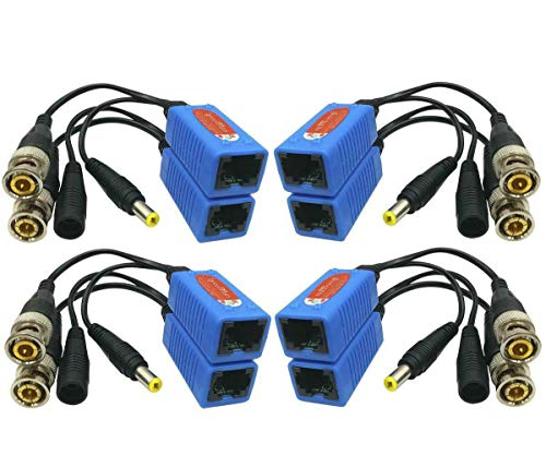 Igreeman 4 Pair Passive Video Balun BNC to RJ45 Adapter with Power (Upgraded Solution) Full HD 1080P-8MP Surveillance Security Camera Ethernet Cable Transceiver Cat5e/Cat6 Cable to BNC Male Connector