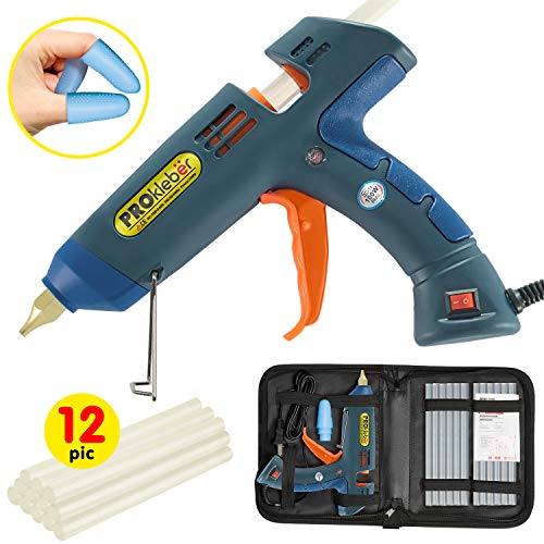 PROkleber Hot Melt Glue Gun Kit Full Size 100 Watt with Carry Bag and 12 pcs Glue Sticks, for DIY, Arts & Crafts Projects, Sealing, Quick Repairs, Light and Heavy Duty, Home, Office (Green/Blue)