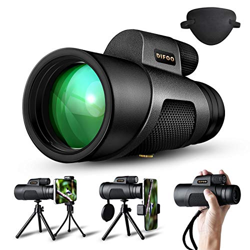 DIFOO Monocular Telescope 16X50 High Power Monocular for Smartphone Adults for Hunting Bird Watching Equipped with iPhone Holder Tripod BAK4 Prism and IPX7 Nitrogen-Filled Waterproof