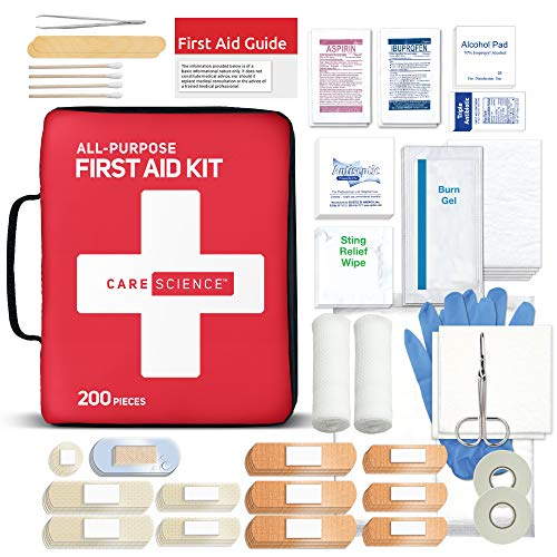 Care Science First Aid Kit All Purpose, 200 Pieces   Professional Use for Travel, Work, School, Home, Car, Survival, Camping, Hiking, and More