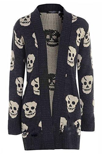 OgLuxe Women's Skull Print Knitted Long Sleeve Jumper Open Cardigan (S/M (UK 8-10 EU 36-38 US 4-6), Charcoal)
