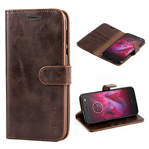 Mulbess Vintage Motorola Moto Z2 Case Wallet, Flip Leather Phone Case with Card Holder for Motorola Moto Z2 Cover, Coffee Brown