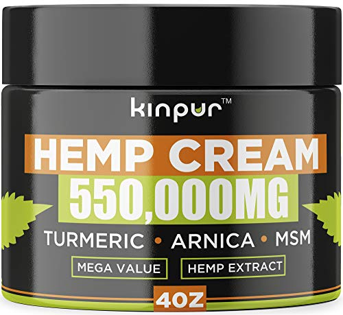 Hemp Cream - 550 000 Mg - Made in USA - Recover Arthritis, Muscle Strain, Stiff Joints, Achy Hands, Knees, Fingers - with Msm - Emu Oil - Arnica - Turmeric