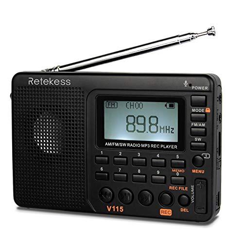 Retekess V115 Shortwave Radio, AM FM Digital Radio, Rechargeable Radio Support Recording, Backlight LCD Display, Sleep Timer, Bass Speaker and TF Socket (Black)