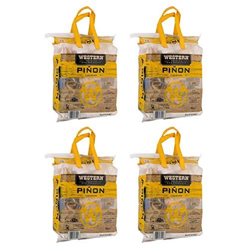 WESTERN BBQ Pinon Mini Log Wood Pellet Firewood for Camp Fires & Fireplaces (4 Pack)