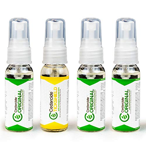 Cedarcide Original + Tickshield with Lemongrass Family 4-Pack (Small)   Deep Woods Flea & Tick Bug Spray for People and Pets