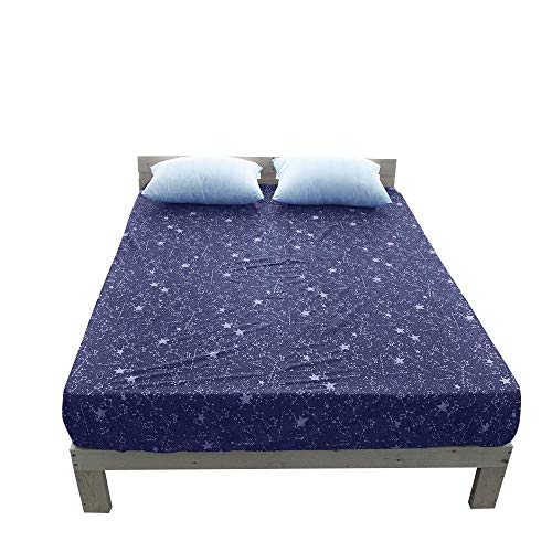 BuLuTu Cotton Deep Pocket Starry Sky Print Fitted Bed Sheet Queen Purple-Breathable, Durable and Comfortable,Premium Single Fitted Sheet Without Pillowcases