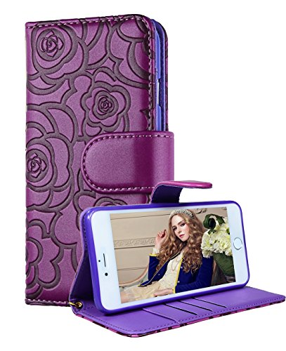 FLYEE iPhone 6 Plus Wallet Case, Premium Vintage Emboss Flower Flip Wallet Shell PU Leather Magnetic Cover Skin with Detachable Wrist Strap Case for iPhone 6 Plus/6s Plus 5.5'(Purple)