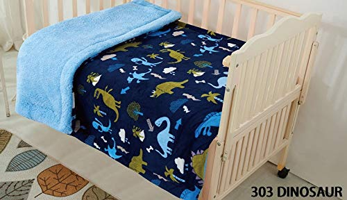 Elegant Home Kids Soft & Warm Multicolor Fun Dinosaurs Design Sherpa Baby Toddler Boy Blanket Printed Borrego Stroller or Baby Crib or Toddler Bed Blanket Plush Throw 40X50 (Dinosaur)