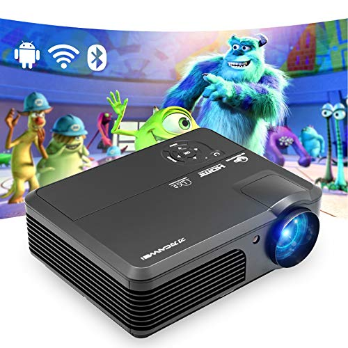WiFi Bluetooth HD Video Projector 1080P 4600 Lumen Wireless Home Projector for Movie Gaming Outdoor with 50,000 Hours LED Life, Compatible with iPhone, iPad, TV Stick, PS4, Laptop, PC, HDMI, USB, VGA