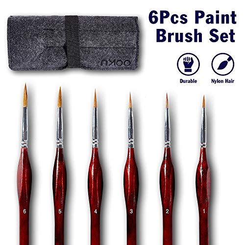 OOKU Detail Paint Brush Set 6 Pc - Professional Tiny Minature Fine Detail Brushes for Art Painting, Face Painting, Miniatures, Detailing, Model Craft Art Painting - Red Wooden Handle