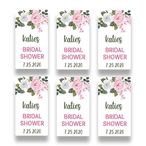 Personalized Pink Rose Favor Sticker for 2 Ounce Bottles | Set of 20 Customized Pink Floral Bridal Shower Favor Labels | Party Favor Stickers for Plastic Bottles (RSL101)