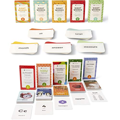 Think Tank Scholar 180 Preschool Flash Cards & 520 Sight Words Flash Cards Bundle - 10 Different Packs of Learning Cards.