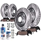 Detroit Axle - All (4) Front and Rear Drilled and Slotted Disc Brake Kit Rotors w/Ceramic Pads for 2008-18 Toyota Sequoia - [2007-17 Tundra] - 2016-18 Land Cruiser - [2017-18 Lexus LX570]