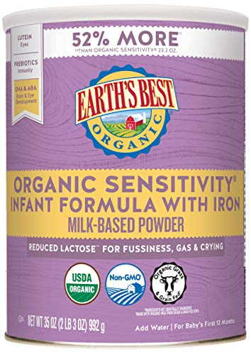Earth's Best Organic Low Lactose Sensitivity Infant Formula with Iron, Milk-Based Powder, 35oz.