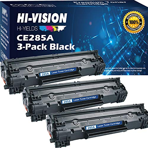 [3-Pack] HI-VISION HI-YIELDS Compatible Toner Cartridge Replacement for HP 85A CE285A 35A CB435A, Work with HP Laserjet Pro P1102w P1109w M1212nf M1217nfw P1005 P1006 Printer (Black, 3-Pack)