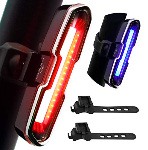 DON PEREGRINO B2 - 110 Lumens High Brightness Bike Rear Light Red/Blue, Powerful LED Bicycle Tail Light Rechargeable with 5 Steady/Flash Modes