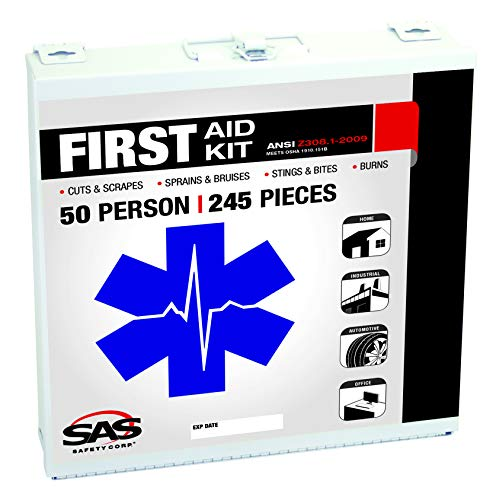 SAS Safety 6050-01 50-Person First-Aid Kit, Metal Box, 50 Person