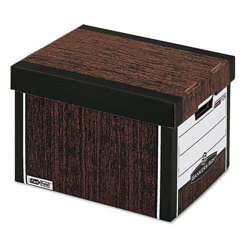 Bankers Box R-KIVE Heavy-Duty Storage Boxes - R-Kive Max Storage Box, Letter/Legal, Locking Lid, Woodgrain, 4/Carton