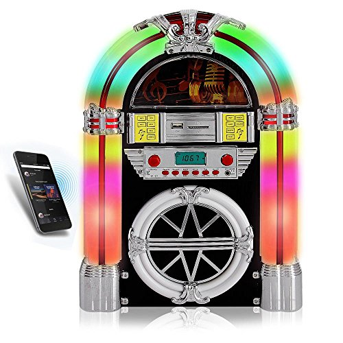 Pyle PJUB25BT Bluetooth Jukebox MP3 Speaker Player LED Lighting, AM/FM Radio, USB/SD Readers with Aux Input