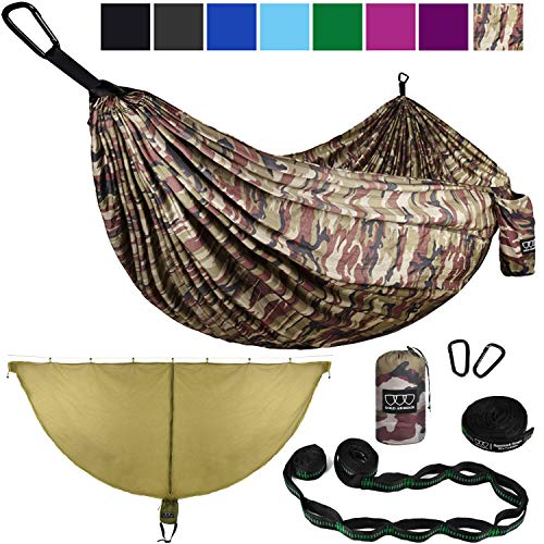 Gold Armour Camping Hammock and Bug Net Set - Double Parachute Hammock (2 Tree Straps 32 Loops/20 ft Included) USA Brand Lightweight Men Women Kids, Camping Accessories Gear (Camouflage, Double)