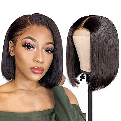 YOUFA 10' Straight human hair Bob Wigs Lace Front Human Hair wigs150% Density Brazilian Human Hair Wigs for Black Women Short Bob Wigs Natural Color (ST-10')