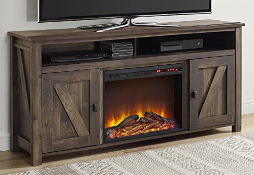 Ameriwood Home Farmington Electric Fireplace TV Console for TVs up to 60', Rustic