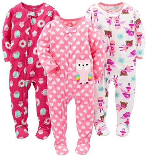 Simple Joys by Carter's Baby Girls' Toddler 3-Pack Flame Resistant Fleece Footed Pajamas, Superhero/Donut/Owl, 5T