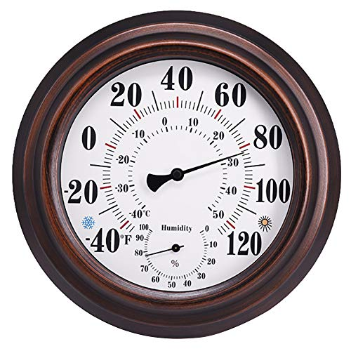 Indoor Outdoor Thermometer Wireless - Wall Thermometer Hygrometer with Stainless Steel Enclosure for Patio, Wall or Decorative, No Battery Required Hanging Hygrometer Round 8' in Diameter (Bronze)