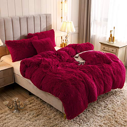YOUHAM Solid Fluffy 1PC Faux Fur Plush Duvet Cover Luxury Shaggy Velvet Bedspread Zipper Closure (Burgundy, Queen)