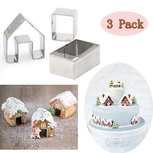 (Set of 3) Gingerbread House Cookie Cutter Set, Bake Your Own Small Gingerbread House Kit, Christmas House Baking Mould