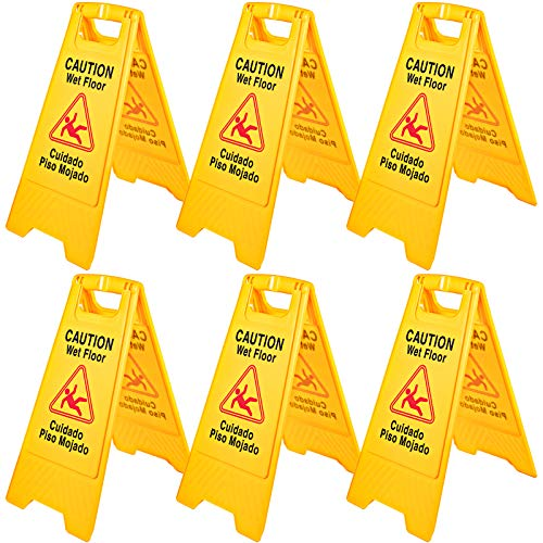 6Pack Caution Wet Floor Signs 25' Double Sided Caution Sign Bilingual Wet Floor Sign Fold-Out Wet Floor Signs for Wet Floors