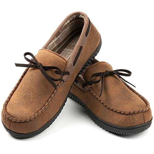 ULTRAIDEAS Men's Cozy Moccasin Memory Foam Slippers with Anti-Skid Indoor Rubber Sole,Breathable Closed Back House Shoes,Camel,11