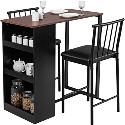 Giantex 3 Piece Pub Dining Set, Wooden Counter Height Table Set with 2 Bar Stools, Industrial Bar Table Set w/Storage, Sturdy Kitchen Table for Kitchen, Restaurant, Living Room (Brown)