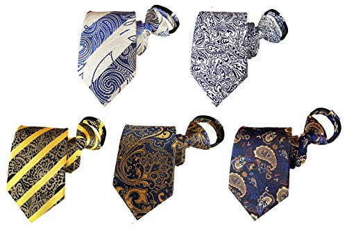 BESMODZ 5 Pack Men's Pretied Striped Paisley Zipper Tie Silk Woven Zip Neck Ties