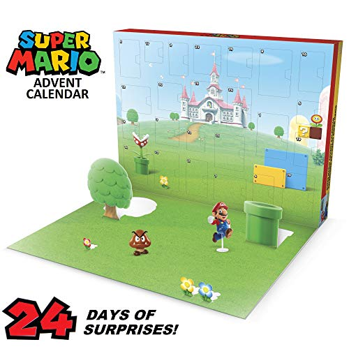 """SUPER MARIO Nintendo Advent Calendar Christmas Holiday Calendar with 17 Articulated 2.5"""" Action Figures & 7 Accessories, 24 Day Surprise Countdown with Pop-Up Environment [Amazon Exclusive]"""