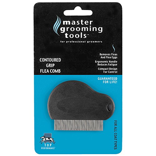 Master Grooming Tools Contoured Grip Flea Combs — Ergonomic Combs for Removing Fleas