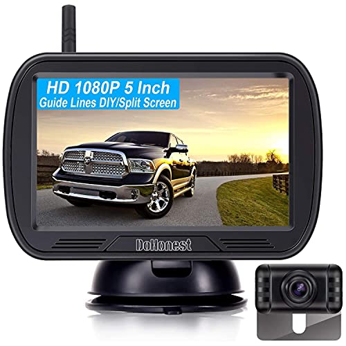 DoHonest V25 Wireless Backup Camera HD 1080P System 5 Inch Monitor Kit for Trucks,Car,Van,Camper Rear View Camera Super Night Vision Waterproof Easy Installation Second RV Camera Available Add on