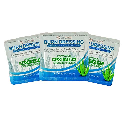 3-Pack Burn Gel Soaked Dressing 4x4 for Burns, scalds & Sunburn - Includes Aloe Vera, Melaleuca and Lidocaine for Relief