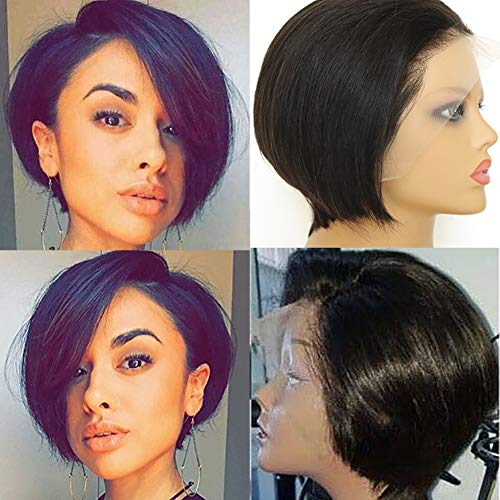 Eliana Short Bob Wigs Lace Front Wigs for Women Human Hair 13 x 4 Lace Front Straight Wigs With Baby Hair Pre Plucked and Bleached Knots 150% Density Natural Hairline
