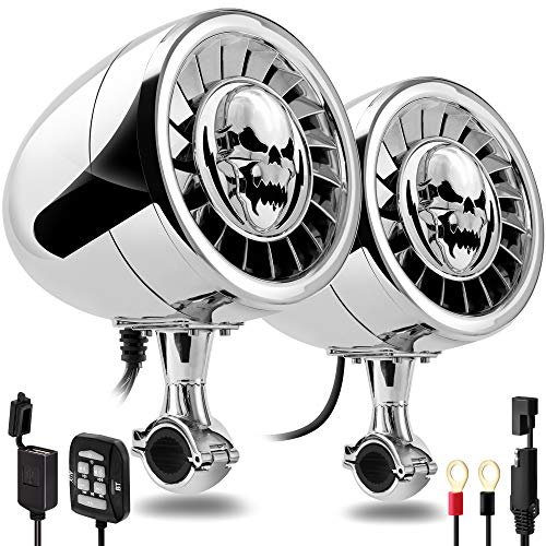 GoHawk AS5-X Gen.3 All-in-One 600W Built-in Amplifier 5' Full Range Waterproof Bluetooth Motorcycle Stereo Speakers Audio Amp System, 1 to 1-1/4' Ape-Hanger Handlebar Harley Custom Touring Cruiser