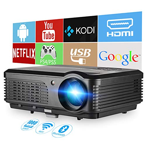 LCD HD WiFi Bluetooth Projector 1080P Native 4600Lumen Android Os LED Home Multimeida Projector HiFi Speakers HDMI USB 25% Zoom 4D Keystone Compatible with iPhone/PC/Laptop/Game Console/TV Stick/DVD