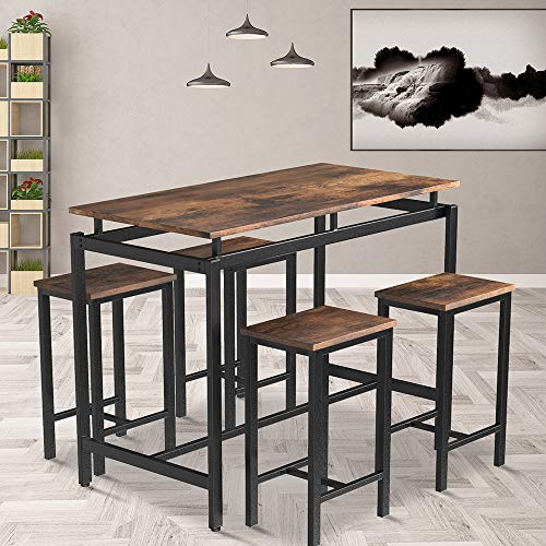 Dining Table Set, Rockjame 5 Pieces Modern Counter Height Pub Table Set with 4 Chairs, Perfect for The Bar, Breakfast Nook and Kitchen Room (Distressed Brown)
