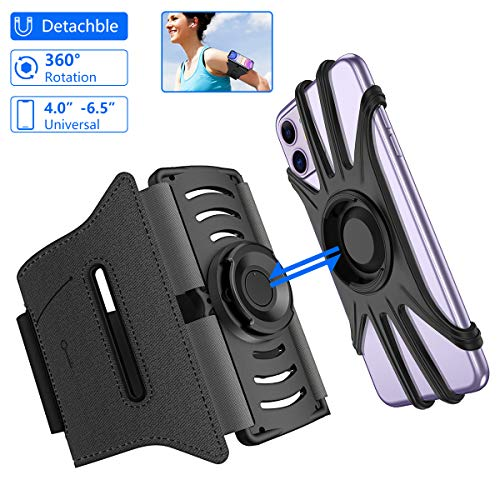 Running Phone Holder VUP IPhone Armband Detachable 360 Rotatable Arm Bands for Cell Phone Fit Any 4-6.5' Phones iPhone Xs Max XR X 8 7 6 6S Plus Samsung Galaxy S9+ S9 S8 S7 S6 Edge Note 8 Google Pixel