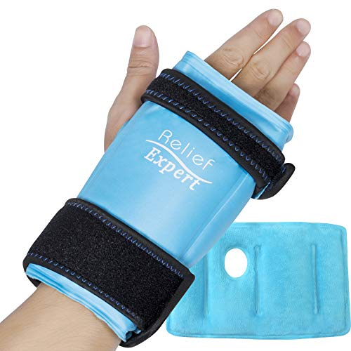 Relief Expert Wrist Hand Ice Pack Wrap - Reusable Gel Packs Injuries, Cold Compress for Instant Pain Relief from Carpal Tunnel, Tendonitis, Injuries, Swelling, Bruises